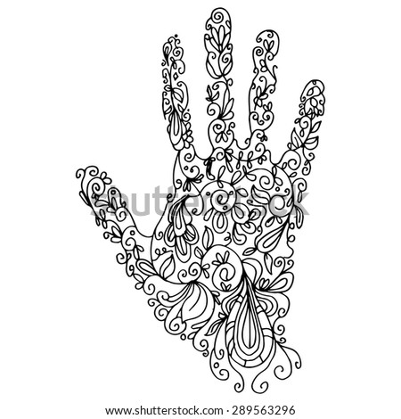 An image of a palm - zentangle style. - stock vector