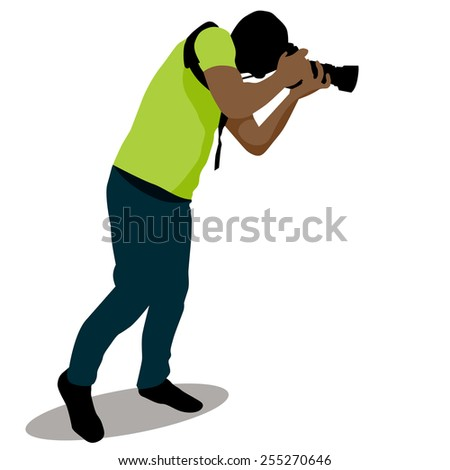 An image of a paparazzi taking a photo. - stock vector