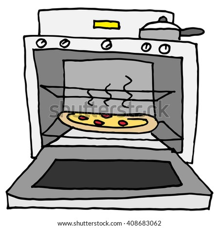 An image of a pizza baking in oven.