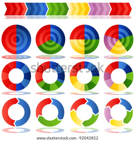 An image of a process target pie charts. - stock vector