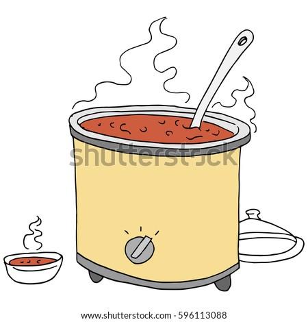 image retro chili crockpot drawing stock vector 596113088