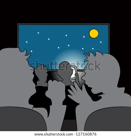 An image of a rude cellphone user in a movie theater. - stock vector