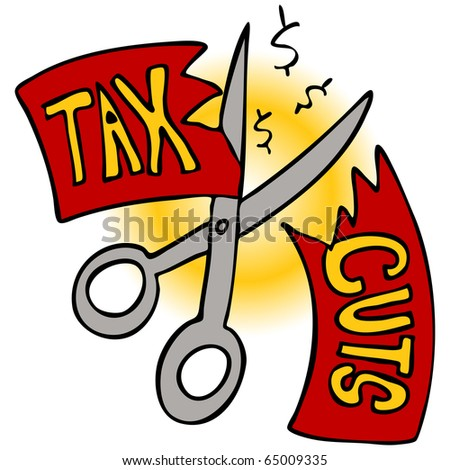An image of a scissors cutting a tax cut paper. - stock vector