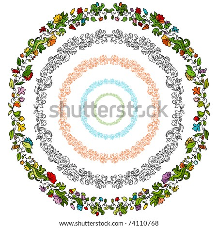 An image of a set of flower design elements in a circular shape. - stock vector