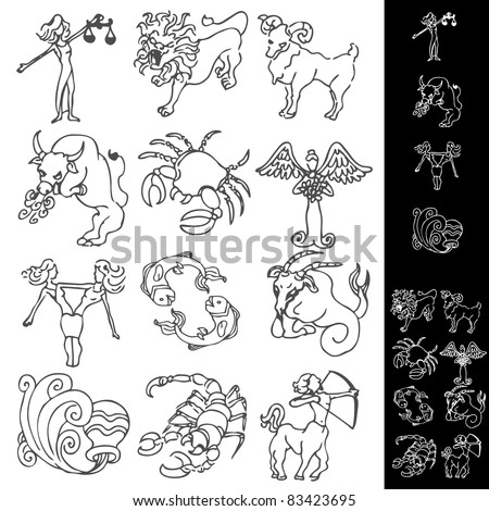 An image of a set of zodiac drawings. - stock vector