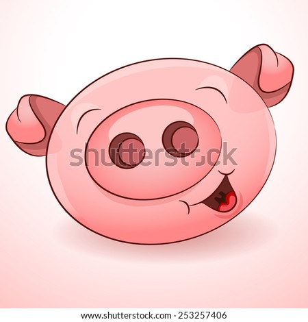 An image of a smiling pig character. - stock vector