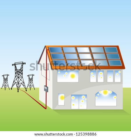 An image of a solar panel system. - stock vector