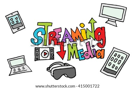 An image of a streaming media doodle set - stock vector
