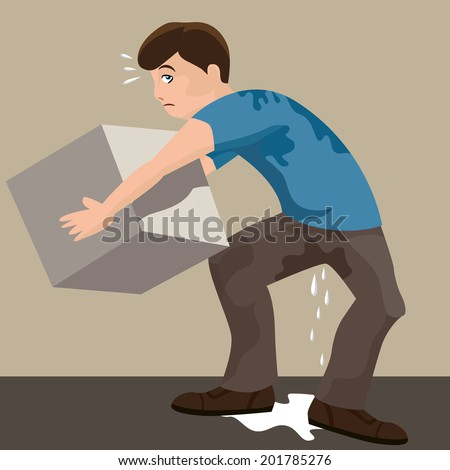 An image of a sweaty man lifting a heavy box.