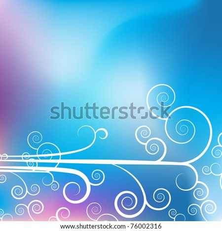 An image of a swirl calligraphy lines withe blue purple background. - stock vector