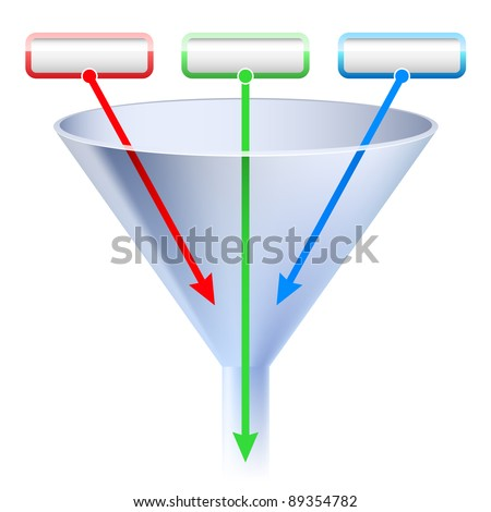 An image of a three stage funnel chart. Illustration on white background - stock vector