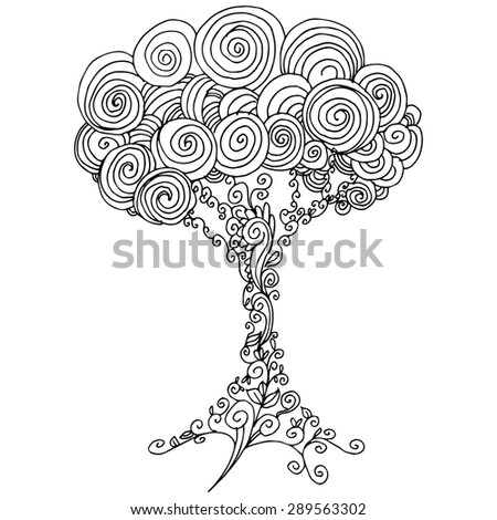 An image of a tree - zentangle style. - stock vector