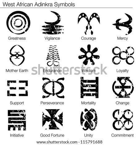 Image West African Adinkra Symbols Stock Vector 115791688 Shutterstock