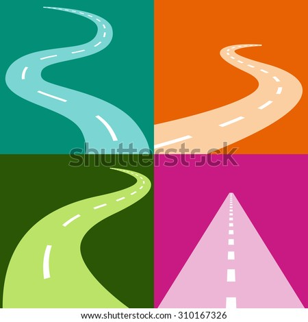 An image of a winding and curving road icon set. - stock vector