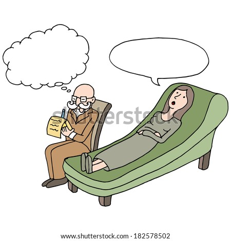 An image of a woman having a therapy session. - stock vector