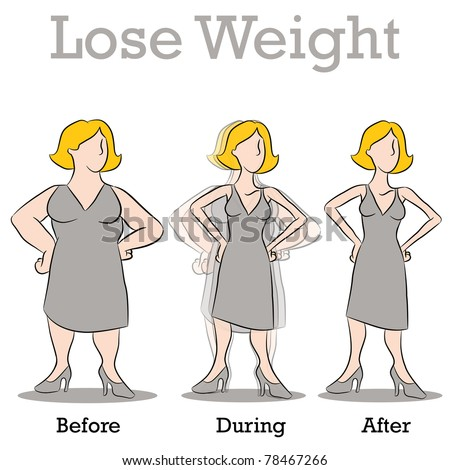 An image of a woman losing weight. - stock vector