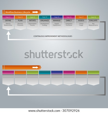 An image of a workflow business lifecycle chart icon. - stock vector