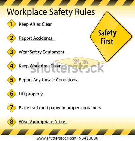 An image of a workplace safety rules chart. - stock vector