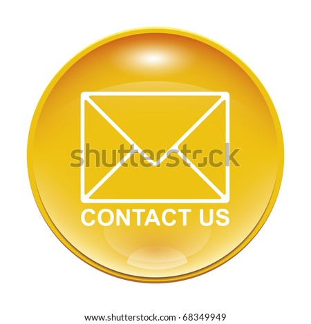 An image of a yellow contact us icon - stock vector