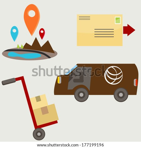 An image of delivery icons. - stock vector