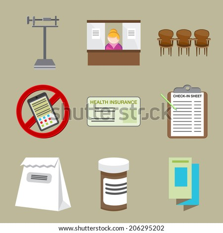 An image of doctor office icons. - stock vector
