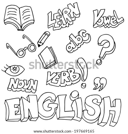 Stock Vector An Image Of English Symbols And Learning Items on Vector Illustration Printable Kids Alphabet Worksheets Stock