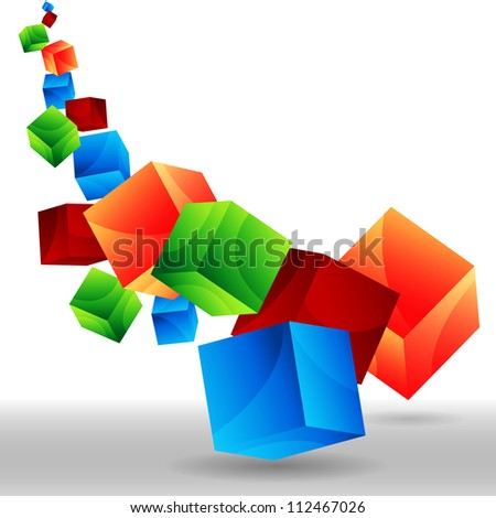 An image of falling 3d cubes. - stock vector