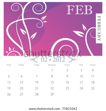 An image of February month victorian calendar page. - stock vector