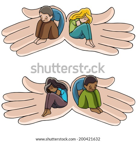 An image of hands holding people suffering from depression. - stock vector