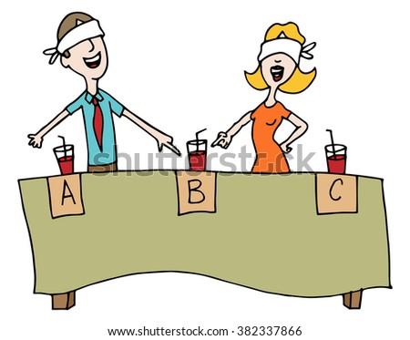 An image of people taking a blind beverage taste test. - stock vector