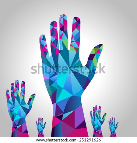 An image of raised hands - polygon style. - stock vector