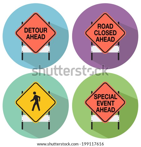 An image of road signs. - stock vector
