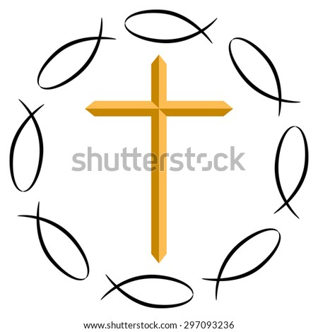 An image of the Christian cross surrounded by ichthys symbols. - stock vector