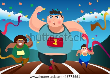 An image of three fat men running in a competition - stock vector