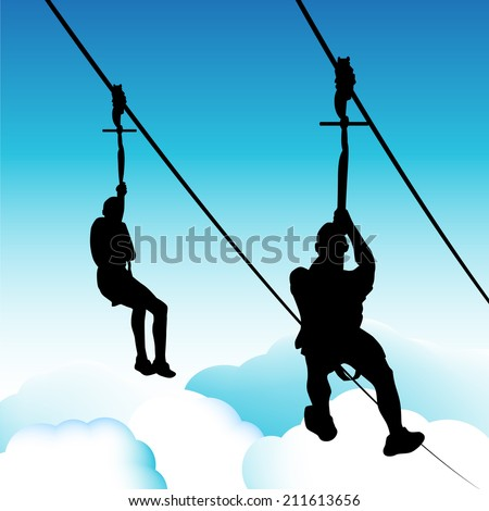 An image of zip line men. - stock vector