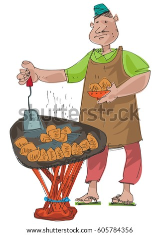 Indian Street Food Vendor Selling Traditional Stock Vector ...