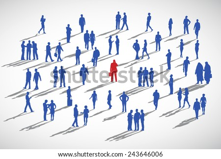 An individual standing admist the crowd. - stock vector