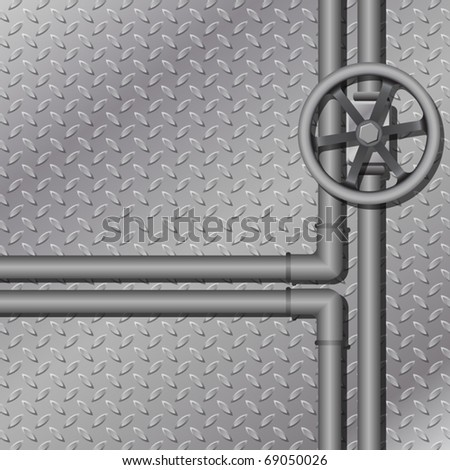 An Industrial Metal Background with Pipes - stock vector