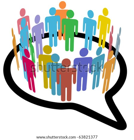 An inner circle of colorful diverse people join to meet in a social media speech bubble - stock vector