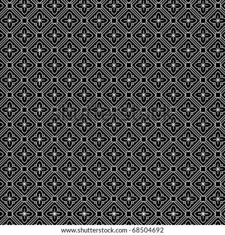 An intricate black and white, vector pattern - stock vector