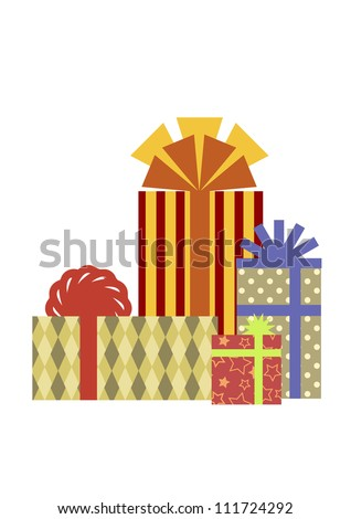 An isolated composition of colorful present boxes. Vector illustration.
