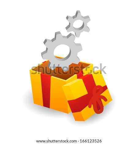 An isolated present package with gears