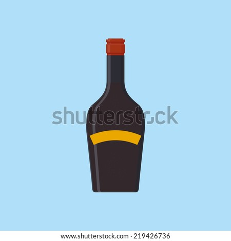 an isolated purple bottle on a blue background - stock vector