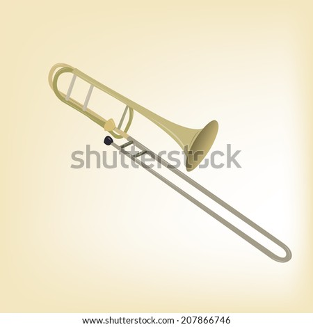 an isolated trumpet in a light yellow background