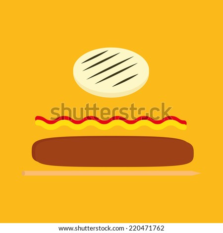 an isolated wooden stick with some ingredients on a yellow background - stock vector