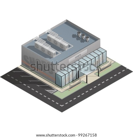 An isometric artwork of an industrial shop building saved as an EPS version 10.