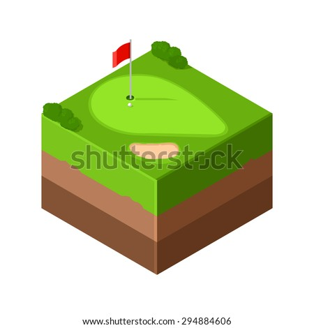 An isometric tile icon of a golf game in progress. Golf Icon illustration. Sport golf green with flag, sand trap bunker. - stock vector