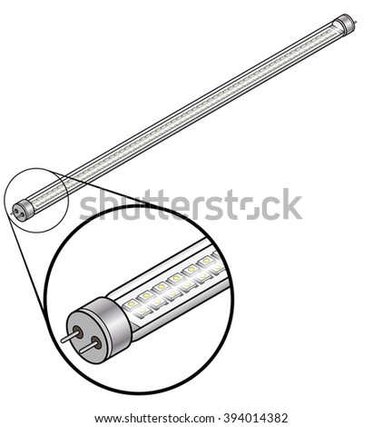 "An LED tube ""fluorescent"" lamp with an array of LED elements. Inset shoe magnified detail."