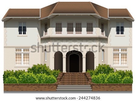 An old commercial building on a white background - stock vector