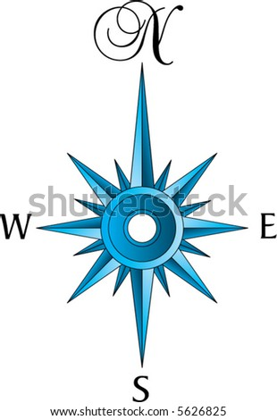 An old fashioned compass rose in blue tones - stock vector